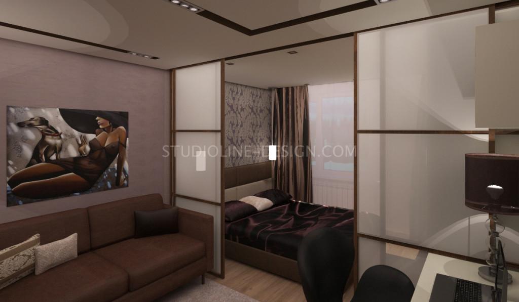 Дизайн интерьера гостиной, совмещенной со спальней и рабочей зоной. (г. Гадяч, Полтавская область)