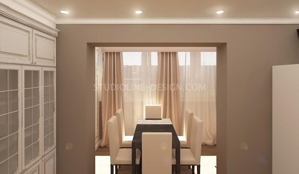 Расширение кухни с помощью лоджии (дизайн интерьера 3-хкомнатной квартиры в г. Полтава).