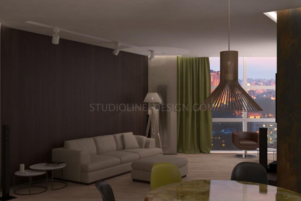 Уютная атмосфера с яркими акцентами, не нарушающими размеренности и ритма интерьера - основа дизайн-проекта