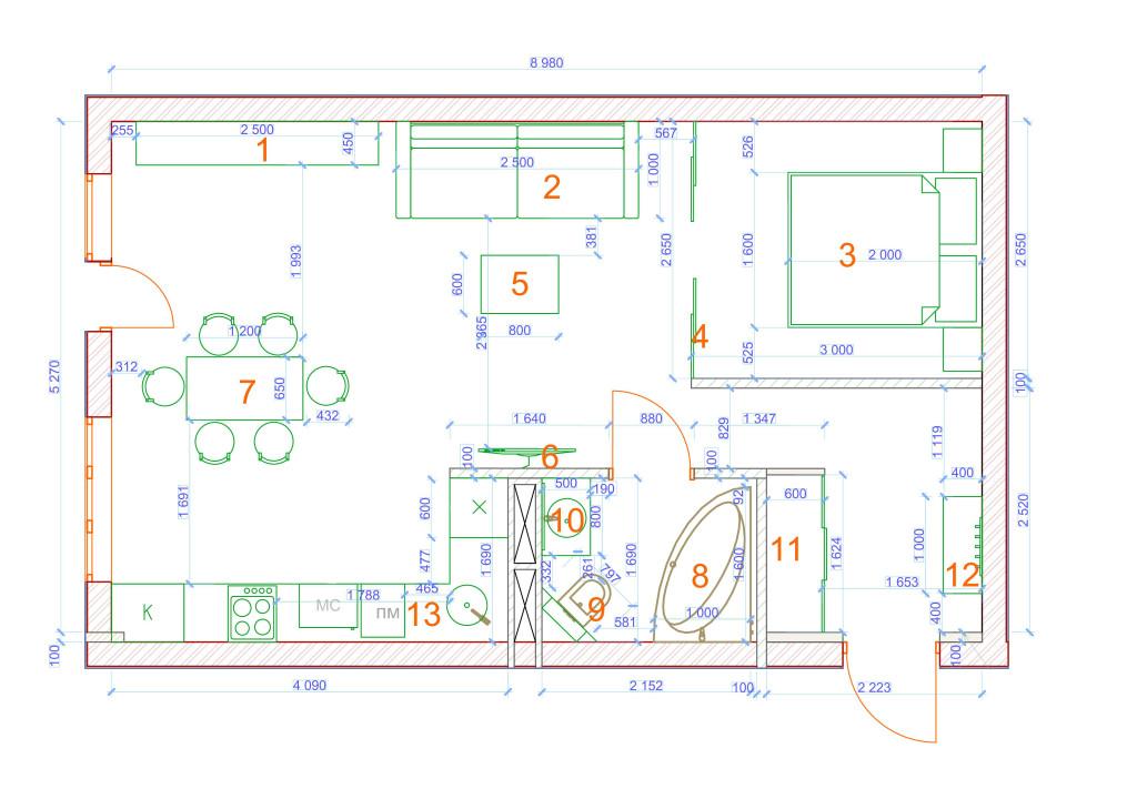 План квартиры в масштабе